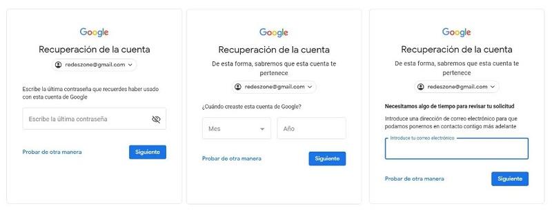 instrucciones para recuperar cuenta de google