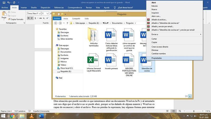 Recuperar archivo Word sobrescrito