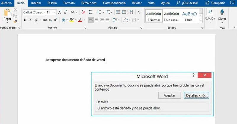 Reparar archivo Word