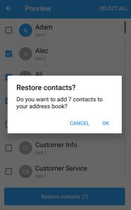 """Toque em """"Restore Contacts"""" (Restaurar Contatos)."""