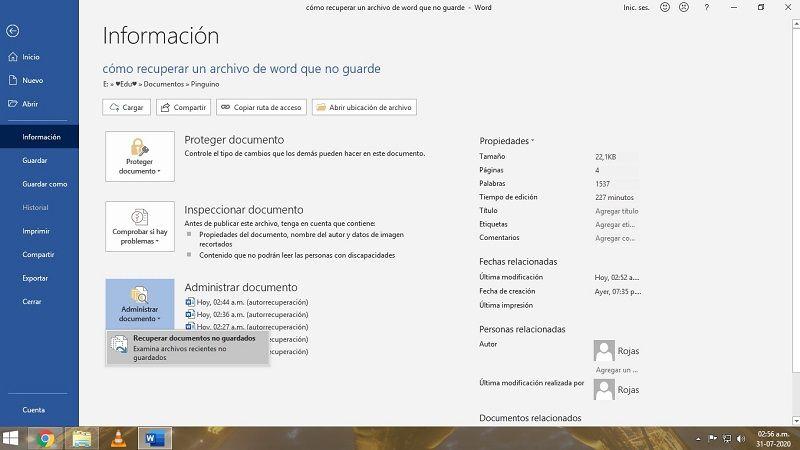 recuperar documento word no guardado