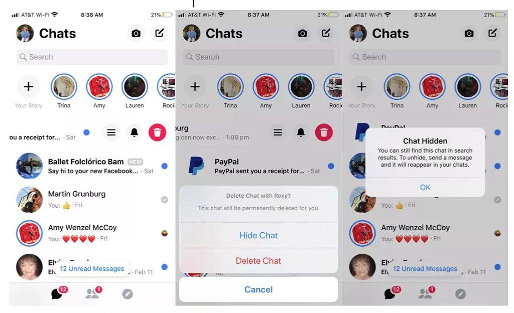 ocultar o eliminar mensaje messenger