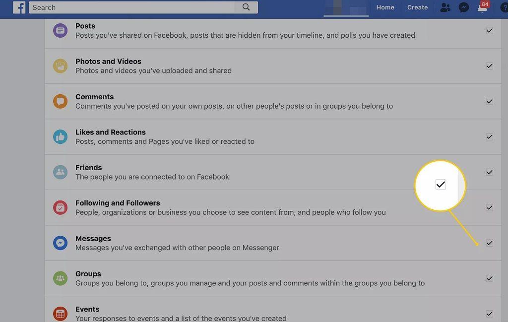 selecciona-tu-información-de-facebook mensajes