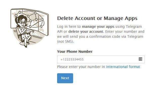 como eliminar cuenta telegram
